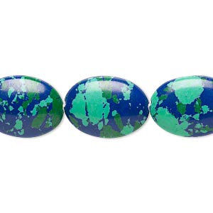Bead, Resin, Dark Blue / Green / Turquoise Blue, 18x13mm Flat Oval. Sold Per 16-inch Strand