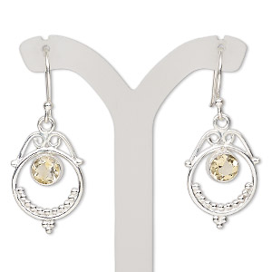 Fishhook Earrings Citrine Silver Colored