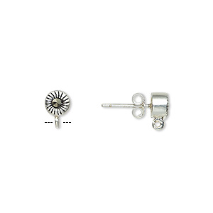 Earstud, Marcasite (natural) Sterling Silver, 5mm Round Open Loop. Sold Per Pair
