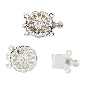 Box (Tab) Clasp Silver Plated/Finished Silver Colored