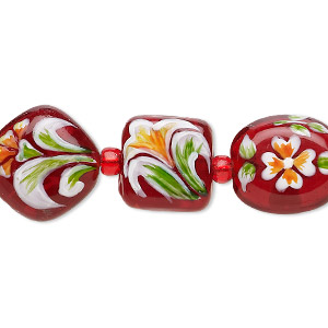 Bead, Lampworked Glass, Red Multicolored, 11x11x10mm-15mm Double-sided Multi-shape Hand-painted Floral Design. Sold Per 7-inch Strand