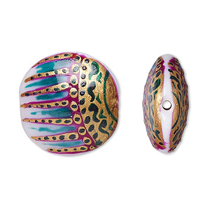 Bead, Lampworked Glass, Multicolored, 22mm Double-sided Puffed Flat Round Hand-painted Abstract Design. Sold Per Pkg 2