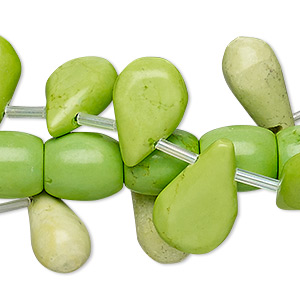 Bead Mix, Magnesite (dyed / Stabilized), Lime Green, 6x6mm-30x15mm Mixed Shape, D Grade, Mohs Hardness 3-1/2 4. Sold Per Pkg (3) 15-inch Strands
