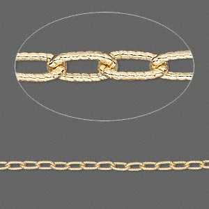 Chain, Gold-finished Sterling Silver, 4.5x2mm Textured Oval Cable. Sold Per Pkg 5 Feet