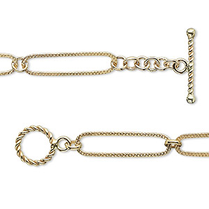 Chain, 14Kt Gold-filled, 19x5mm Textured Oval 3mm Round, 7-1/2 Inches Toggle Clasp. Sold Individually
