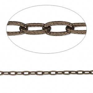 """Chain, Antiqued """"vermeil,"""" 4.5x2mm Oval Cable. Sold Per 25-foot Spool"""
