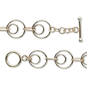 Chain, 14Kt Gold-filled, 10mm Double Round 6x3mm Oval, 7-1/2 Inches Toggle Clasp. Sold Individually