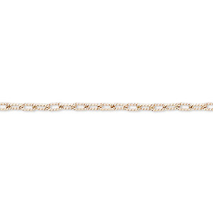 Chain, Rose Gold-finished Sterling Silver, 4.5x2mm Textured Oval Cable. Sold Per 25-foot Spool
