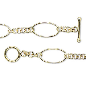 Chain, 14Kt Gold-filled, 15x8mm Oval 3mm Round, 7-1/2 Inches Toggle Clasp. Sold Individually