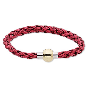 "Bracelet, Imitation Leather Gold- Silver-finished ""pewter"" (zinc-based Alloy), Red, 6mm Wide Braided Round, 7 Inches Magnetic Clasp. Sold Individually 2149JU"