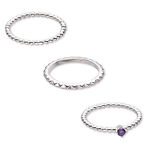 Finger Rings Amethyst Silver Colored