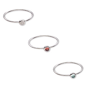 Finger Rings Mixed Gemstones Silver Colored