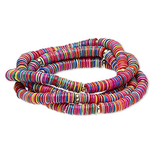 Bracelet, Stretch, Acrylic Gold-coated Plastic, Multicolored, 5mm Wide, 6-1/2 Inches. Sold Per Pkg 4 2174JU