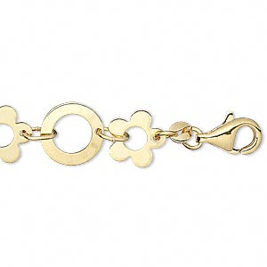 Chain, Gold-plated Brass, 10mm Flower 11mm Round, 6-1/2 Inches Lobster Claw Clasp. Sold Individually