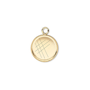 Drop, Gold-plated Brass, 13mm Round Beaded Edge 12mm Round Bezel Setting. Sold Per Pkg 12