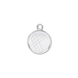 Drop, Silver-plated Brass, 13mm Round Beaded Edge 12mm Round Bezel Cup Setting. Sold Per Pkg 12