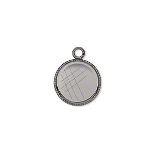 Drop, Gunmetal-plated Brass, 13mm Round Beaded Edge 12mm Round Bezel Setting. Sold Per Pkg 12
