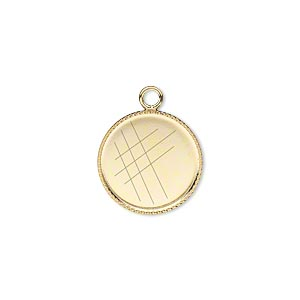 Drop, Gold-plated Brass, 15mm Round Beaded Edge 14mm Round Bezel Setting. Sold Per Pkg 6