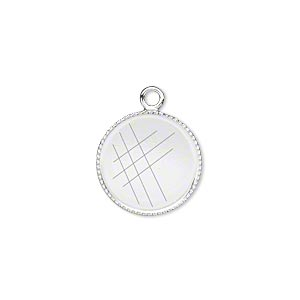 Drop, Silver-plated Brass, 15mm Round Beaded Edge 14mm Round Bezel Cup Setting. Sold Per Pkg 6