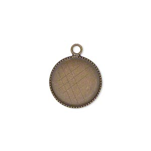 Drop, Antiqued Brass, 15mm Round Beaded Edge 14mm Round Bezel Cup Setting. Sold Per Pkg 6