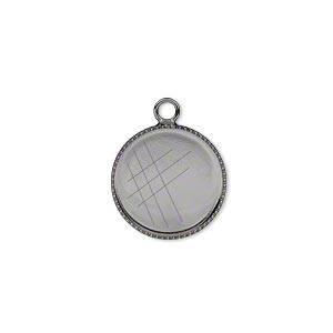 Drop, Gunmetal-plated Brass, 15mm Round Beaded Edge 14mm Round Bezel Setting. Sold Per Pkg 6
