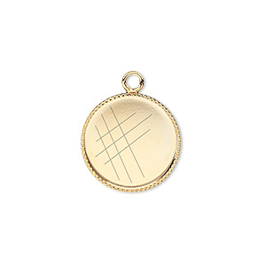 Drop, Gold-plated Brass, 16mm Round Beaded Edge 15mm Round Bezel Setting. Sold Per Pkg 6