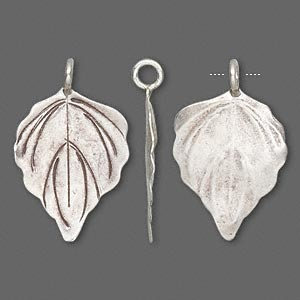 Charm, Hill Tribes, Antiqued Fine Silver, 26x19mm Leaf. Sold Individually