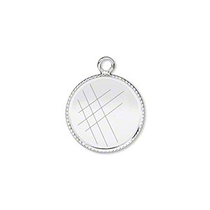Drop, Silver-plated Brass, 16mm Round Beaded Edge 15mm Round Bezel Cup Setting. Sold Per Pkg 6