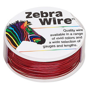 Wire, Zebra Wire™, Color-coated Copper, Red, Round, 24 Gauge. Sold Per 1/4 Pound Spool, Approximately 71 Yards 2184WR
