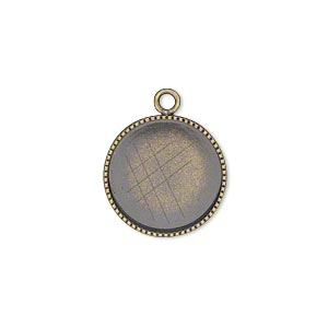 Drop, Antiqued Brass, 16mm Round Beaded Edge 15mm Round Bezel Cup Setting. Sold Per Pkg 6