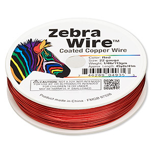 Wire, Zebra Wire™, Color-coated Copper, Red, Round, 22 Gauge. Sold Per 1/4 Pound Spool, Approximately 45 Yards 2185WR