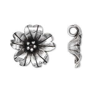 Charm, Hill Tribes, Antiqued Fine Silver, 20mm Flower. Sold Individually