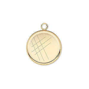 Drop, Gold-plated Brass, 17mm Round Beaded Edge 16mm Round Bezel Setting. Sold Per Pkg 6