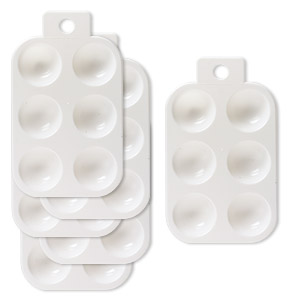 Tray, Plastic, White, 5-1/4 X 3-1/2 Inches 6 Round Compartments Hanging Tab. Sold Per Pkg 6