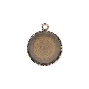 Drop, Antiqued Brass, 17mm Round Beaded Edge 16mm Round Bezel Cup Setting. Sold Per Pkg 6