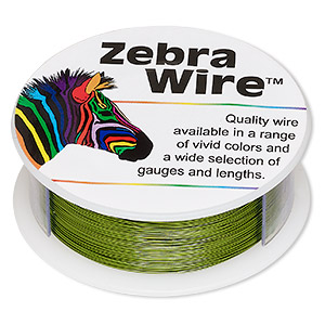 Wire, Zebra Wire™, Color-coated Copper, Green, Round, 30 Gauge. Sold Per 1/4 Pound Spool, Approximately 215 Yards 2191WR