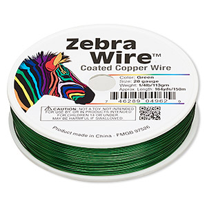 Wire, Zebra Wire™, Color-coated Copper, Green, Round, 28 Gauge. Sold Per 1/4 Pound Spool, Approximately 164 Yards 2192WR