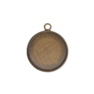 Drop, Antiqued Brass, 19mm Round Beaded Edge 18mm Round Bezel Cup Setting. Sold Per Pkg 6