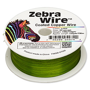 Wire, Zebra Wire™, Color-coated Copper, Lime Green, Round, 30 Gauge. Sold Per 1/4 Pound Spool, Approximately 215 Yards 2196WR