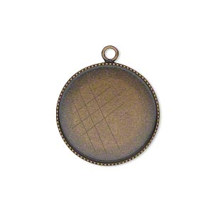 Drop, Antiqued Brass, 21mm Round Beaded Edge 20mm Round Bezel Cup Setting. Sold Per Pkg 2