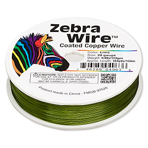 Wire, Zebra Wire™, Color-coated Copper, Lime Green, Round, 28 Gauge. Sold Per 1/4 Pound Spool, Approximately 164 Yards 2197WR