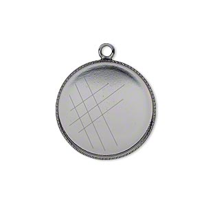 Drop, Gunmetal-plated Brass, 21mm Round Beaded Edge 20mm Round Bezel Setting. Sold Per Pkg 2