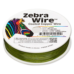Wire, Zebra Wire™, Color-coated Copper, Lime Green, Round, 26 Gauge. Sold Per 1/4 Pound Spool, Approximately 115 Yards 2198WR