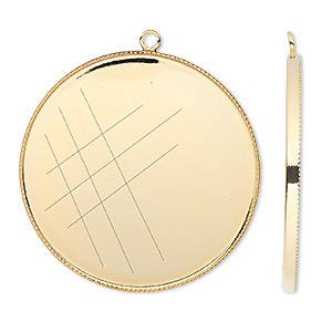Focal, Gold-plated Brass, 39mm Round Beaded Edge 38mm Round Bezel Setting. Sold Per Pkg 2