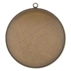 Focal, Antiqued Brass, 39mm Round Beaded Edge 38mm Round Bezel Setting. Sold Per Pkg 2