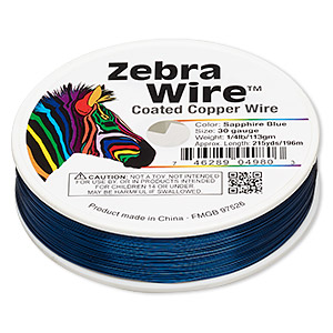 Wire, Zebra Wire™, Color-coated Copper, Sapphire Blue, Round, 30 Gauge. Sold Per 1/4 Pound Spool, Approximately 215 Yards 2201WR