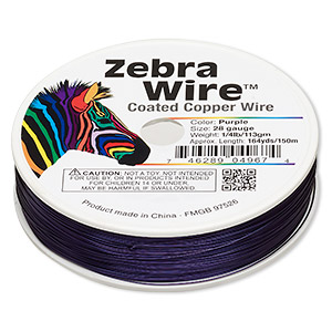 Wire, Zebra Wire™, Color-coated Copper, Purple, Round, 28 Gauge. Sold Per 1/4 Pound Spool, Approximately 164 Yards 2207WR
