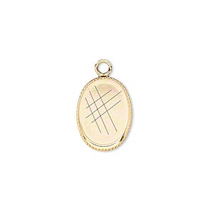 Drop, Gold-plated Brass, 15x11mm Oval Beaded Edge 14x10mm Oval Bezel Setting. Sold Per Pkg 6