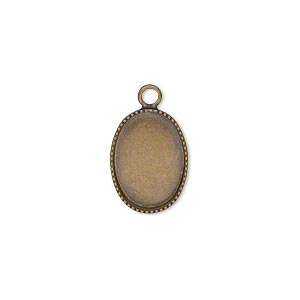 Drop, Antiqued Brass, 15x11mm Oval Beaded Edge 14x10mm Oval Bezel Cup Setting. Sold Per Pkg 6