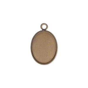 Drop, Antiqued Brass, 17x13mm Oval Beaded Edge 16x12mm Oval Bezel Cup Setting. Sold Per Pkg 6